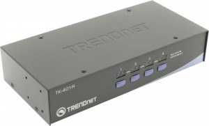 TRENDnet < TK-401R> 1U 4-port KVM Switch (клавиатураPS | 2+мышьPS | 2+VGA15pin)